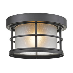 Exterior Additions Black 10-Inch One-Light Outdoor Ceiling Light with Frosted Seedy Glass Shade