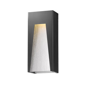 Millenial Black Silver 18-Inch LED Outdoor Wall Mount with Clear Seedy Glass