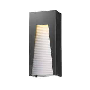 Millenial Black Silver 18-Inch LED Outdoor Wall Mount with Frosted Ribbed Glass