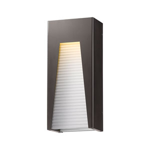 Millenial Bronze Silver 18-Inch LED Outdoor Wall Mount with Frosted Ribbed Glass