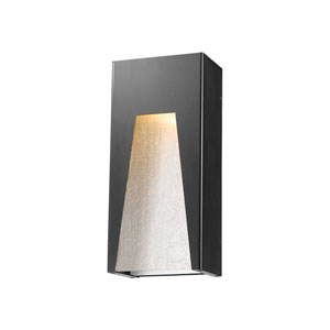 Millenial Black Silver 13-Inch LED Outdoor Wall Mount with Clear Seedy Glass