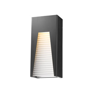 Millenial Black Silver 13-Inch LED Outdoor Wall Mount with Frost Ribbed Glass
