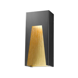 Millenial Black Gold 13-Inch LED Outdoor Wall Mount with Chisel Glass