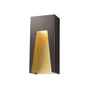 Millenial Bronze Gold 13-Inch LED Outdoor Wall Mount with Chisel Glass