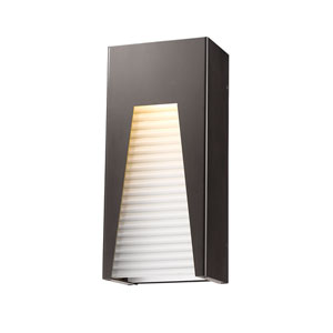 Millenial Bronze Silver 13-Inch LED Outdoor Wall Mount with Frosted Ribbed Glass