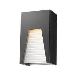Millenial Black Silver 10-Inch LED Outdoor Wall Mount with Frosted Ribbed Glass