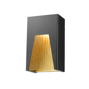 Millenial Black Gold 10-Inch LED Outdoor Wall Mount with Chisel Glass