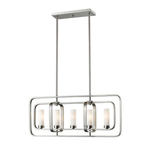 Aideen Brushed Nickel Five-Light Linear Pendant
