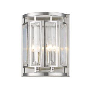Mersesse Brushed Nickel 9-Inch Two-Light  Wall Sconce