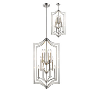 Zander Brushed Nickel Twelve-Light Pendant