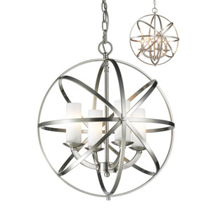 Aranya Brushed Nickel Four-Light Globe Pendant with Matte Opal Glass