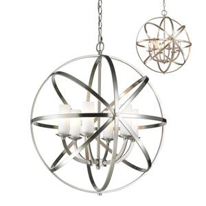 Aranya Brushed Nickel Six-Light Pendant with Matte Opal Glass