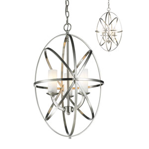 Aranya Brushed Nickel Three-Light Pendant with Matte Opal Glass