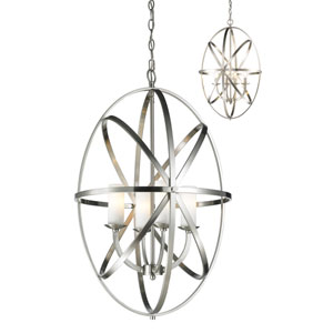 Aranya Brushed Nickel Four-Light Pendant with Matte Opal Glass