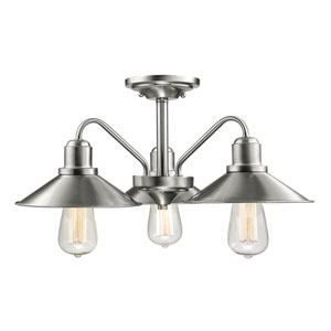 Casa Brushed Nickel Three-Light Outdoor Semi-Flushmount
