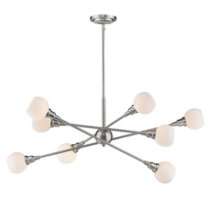 Tian Brushed Nickel 45-Inch Eight-Light  Pendant