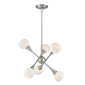 Tian Brushed Nickel 26-Inch Six-Light LED Pendant