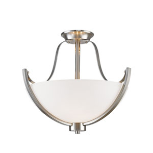 Halliwell Brushed Nickel Three-Light Semi Flush Mount