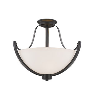Halliwell Bronze Three-Light Semi Flush Mount