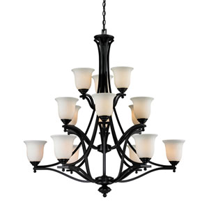Lagoon Fifteen-Light Bronze Chandelier with Matte Opal Glass Shades
