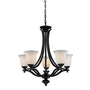 Lagoon Five-Light Bronze Chandelier with Matte Opal Glass Shades