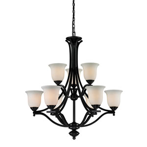 Lagoon Nine-Light Bronze Chandelier with Matte Opal Glass Shades