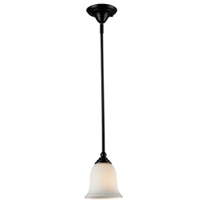 Lagoon One-Light Bronze Mini Pendant with Matte Opal Glass Shade