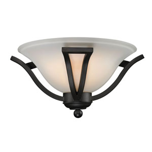 Lagoon One-Light Matte Black Wall Sconce with Matte Opal Glass Shade
