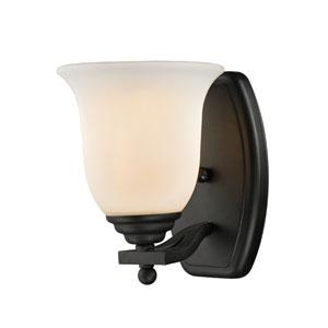 Lagoon One-Light Matte Black Vanity Light with Matte Opal Glass Shade