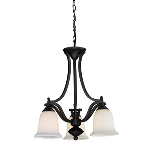 Lagoon Three-Light Matte Black Chandelier with Matte Opal Glass Shades