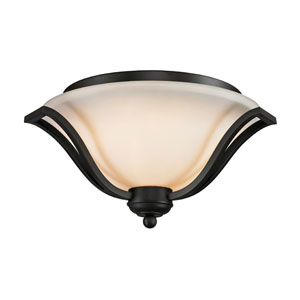 Lagoon Three-Light Matte Black Flush Ceiling Fixture with Matte Opal Glass