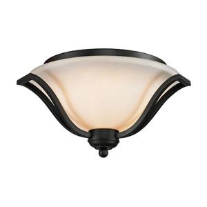 Lagoon Three-Light Matte Black Flush Ceiling Fixture with Matte Opal Glass