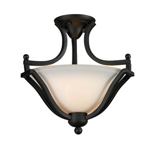 Lagoon Two-Light Matte Black Semi-Flush Mount with Matte Opal Glass Shade