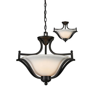 Lagoon Three-Light Matte Black Convertible Pendant with Matte Opal Glass Shade