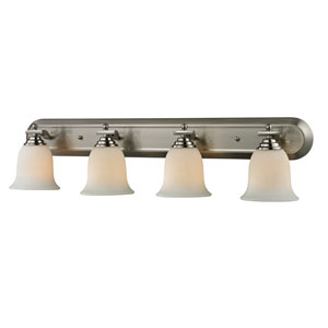 Lagoon Four-Light Brushed Nickel Vanity Light with Matte Opal Glass Shades