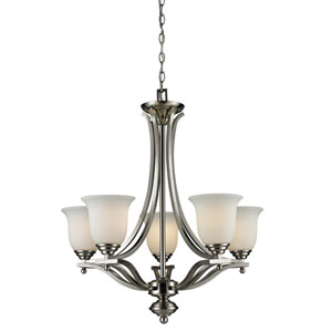 Lagoon Five-Light Brushed Nickel Chandelier with Matte Opal Glass Shades
