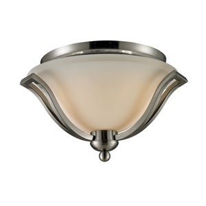 Lagoon Two-Light Brushed Nickel Flush Ceiling Fixture with Matte Opal Glass Shade