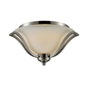 Lagoon Three-Light Brushed Nickel Flush Ceiling Fixture with Matte Opal Glass Shade