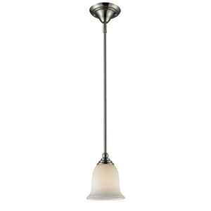 Lagoon One-Light Brushed Nickel Mini Pendant with Matte Opal Glass Shade