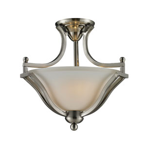 Lagoon Two-Light Brushed Nickel Semi-Flush Mount with Matte Opal Glass Shade
