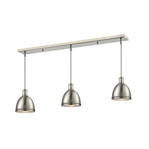 Mason Brushed Nickel 50-Inch Three-Light Billiard Pendant with Brushed Nickel Shades