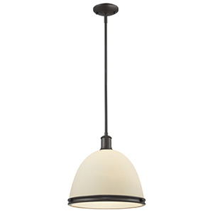 Mason Bronze One-Light Pendant with Matte Opal Glass Shade