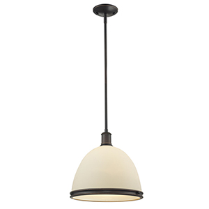 Mason Olde Bronze One-Light Pendant with Matte Opal Glass Shade