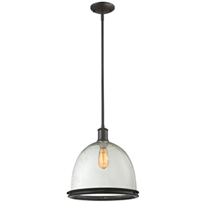 Mason Bronze One-Light Pendant with Clear Seedy Glass Shade