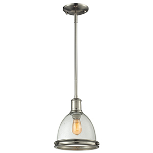 Mason Brushed Nickel One-Light Mini Pendant with Clear Seedy Glass Shade