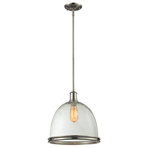 Mason Brushed Nickel One-Light Pendant with Clear Seedy Glass Shade