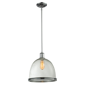 Mason Chrome One-Light Pendant with Clear Seedy Glass Shade