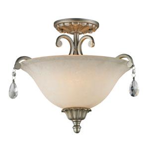 Melina Golden Antique Silver Three Light Semi-Flushmount