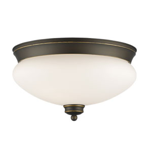 Amon Olde Bronze 13-Inch Two-Light Flush Mount