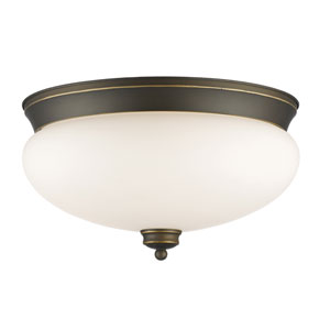 Amon Olde Bronze 15-Inch Three-Light Flush Mount